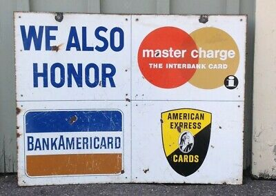 VINTAGE GAS STATION CREDIT CARD 2 Sided Sign Bank Americard Master Charge Amex