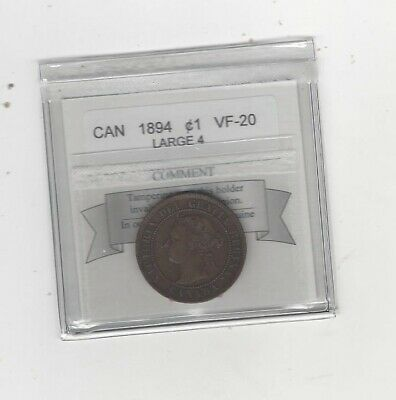 1894 Large 4  Coin Mart Graded Canadian, Large One Cent, **VF-20**