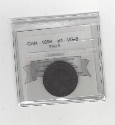 1896 Far 6  Coin Mart Graded Canadian, Large One Cent, **VG-8**