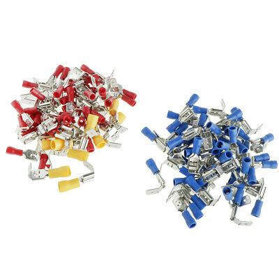 100 x Electrical Wire Terminals Assortment Insulated Crimp Female/Male Spade