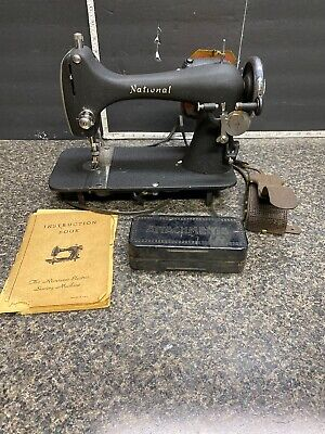 Vintage National Sewing Machine Model (RUSA)with Attachments (see Description).