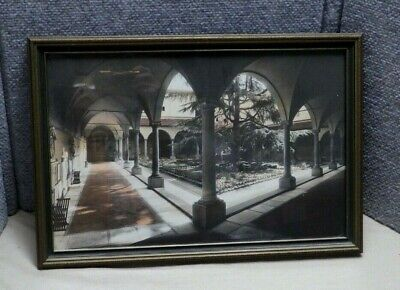 Antique Hand Colored Tinted Photo Photograph The Cloister NYC Saint Guilhem