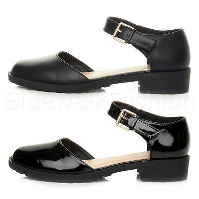 Womens Ladies Girls Kids Low Heel Chunky Ankle Strap Cut Out Smart Casual Shoes