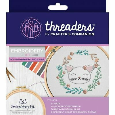 Crafter's Companion Threaders Embroidery Kit + Thread & Instructions - Cat