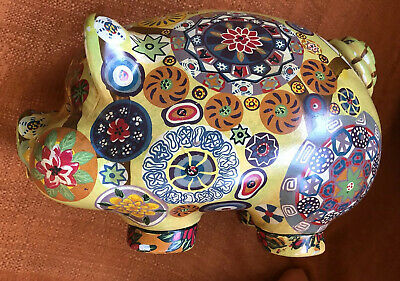 MCM Vintage 1960s Mexican Folk Art Hand painted Psychedelic Hippie Piggy Bank