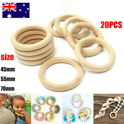 20X Baby Newborn Natural Round Wood Teething Ring Wooden Teether Toy DIY Gift AU