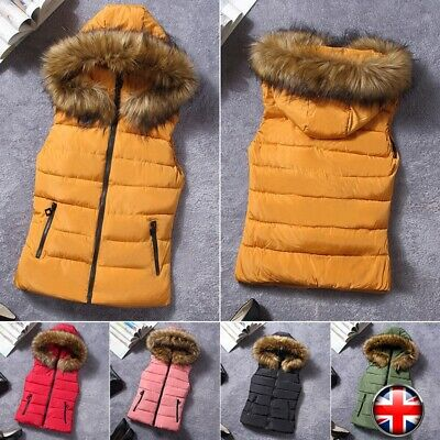 Women's Sleeveless Quilted Gilet Bubble Jacket Equestrian Hooded Body Warmer