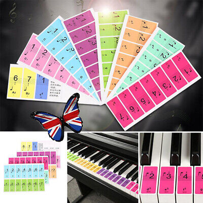 88 Colorful keys Music Keyboard Piano Stickers Set Removable Stickers UK Stock