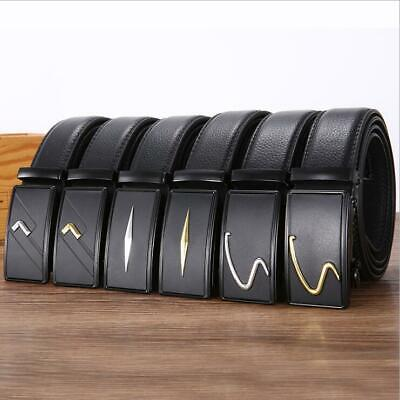 Luxury Men's Automatic Buckle Belts Ratchet Genuine Leather Belt Strap Waistband