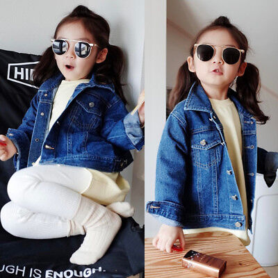Kids Toddler Girls Boys Denim Jacket Casual Button Jean Jacket Fall Coat Clothes