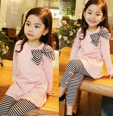 Casual Toddler Kids Girls Bowkont Tops Striped Pants Leggings Outfits Set 2-7Yrs