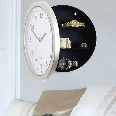 Silver Secret Wall Clock Home Safe Valuables Money Box Stash Cash Jewellery Gold