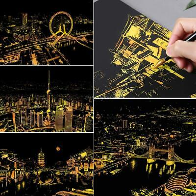 Scratch Drawing Coloring Painting Multicolor World City Nights Pattern 35DI