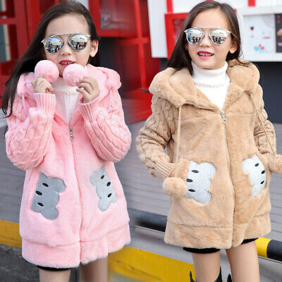 Kids Girls Rabbit Ear Hooded Coats Warm Winter Faux Fur Overcoat Parka Outwear