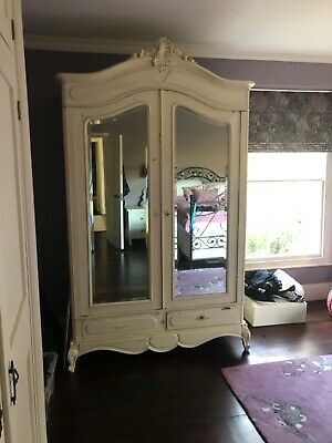 Antique French double armoire wardrobe painted in cream