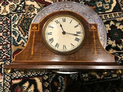 Mantle clock mahogany case with Shamrock inlays Edwardian