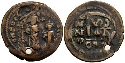 FORVM VF Heraclius and Heraclius Constantine Follis Overstruck on Focas Follis