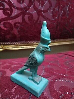 Antique Egyptian Horus Figurine Ancient Civilization Glazed Falcon Statue Amulet