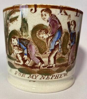 """Antique Staffordshire transfer ware Pearlware Child's Mug """"For my nephew"""""""
