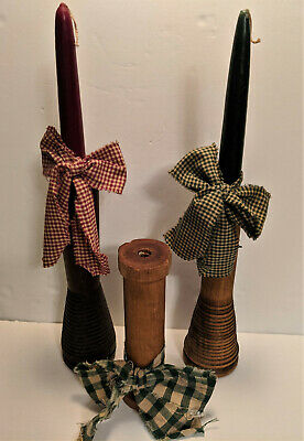 Vintage Wooden Industrial Textile Spool Wood Bobbins Lot of 3 Rustic Primitives