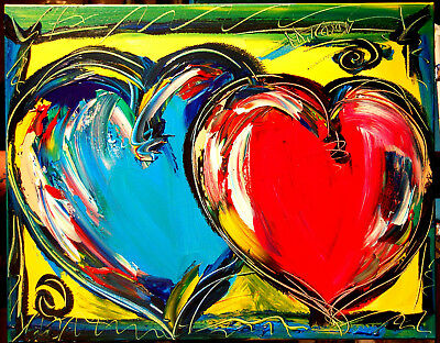 Mark Kazav HEARTS Large Abstract Modern Original Oil Painting WALL DECOR