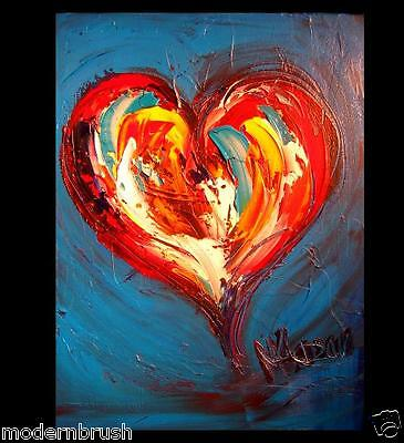 Red Valentine Heart Modern Abstract Original Oil Painting  Blue Canvas