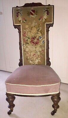 Antique Walnut Tapestry Prie Dieu Prayer Chair Bedroom Occasional