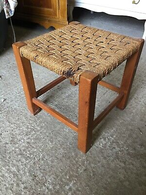 Vintage Traditional Fireside Stool String Weave Seat  23/12/H