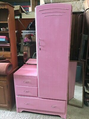 Vintage PINK  Single Wardrobe Armoire Dressing Table In One 1950s Mirror 23/12/V