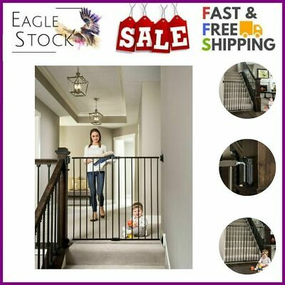 Eag Extra Tall Easy Swing Stairway Hallway Walk Through Wide Baby Gate Black New