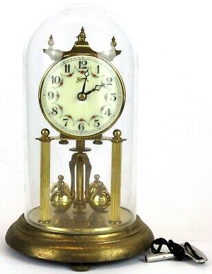 RARE Early 20th C. KOMA German Brass Glass Dome Anniversary Mantel/Mantle Clock