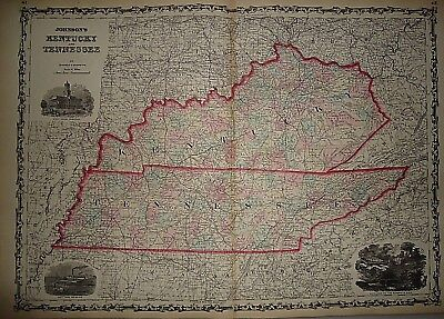 Vintage 1861 KENTUCKY - TENNESSEE MAP ~ Old Antique Original Atlas Map 40218