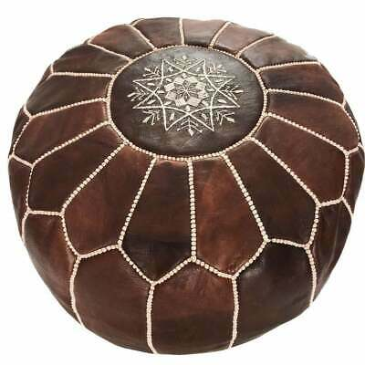 Round Pouf Ottoman Chairs Brown Genuine Leather New Moroccan Handmade Footstool