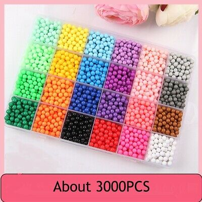 3000P Aquabeads Water Fuse Beads 24 Separate Color Packing Sticky Fuse Beads