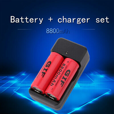 2 PCS 3.7V 8800mAh Rechargeable 26650 Battery Li-ion Battery With IT