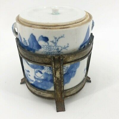 Antique Porcelain Chinese Blue & White Brush Pot with Lid & Metal Stand Rare