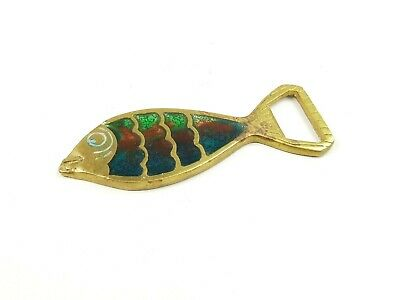 Vintage Brass Fish Bottle Opener Stained Glass