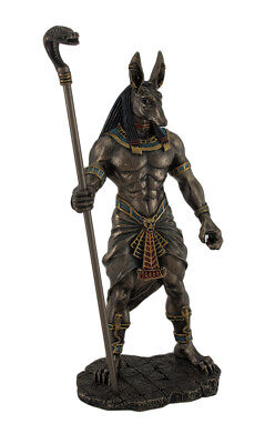 10.5 inch tall Anubis Holding Cobra Head Scepter Statue