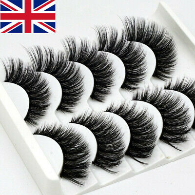 NEW 5Pair 3D Mink False Eyelashes Wispy Cross Long Thick Soft Fake Eye Lashes UK