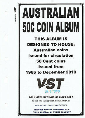 VST AUSTRALIAN 50c Small COIN ALBUM 2019 Update SUPPLEMENT PAGES