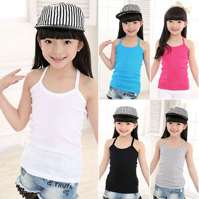 Girls Vest Top Strappy Kids Tank Summer Childrens Camisole Plain Solid Cami Tops