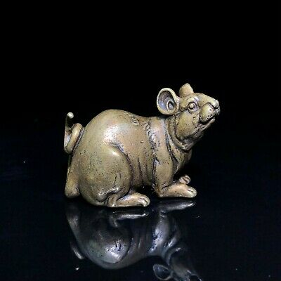 Fengshui Chinese Old Brass Collectible Handwork Zodiac Mouse Vintage Statue