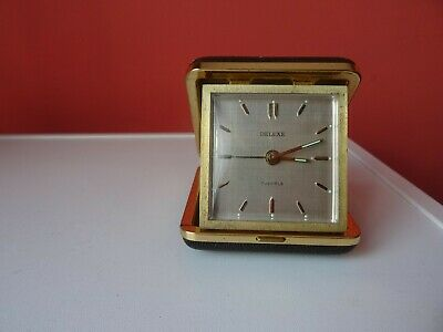 OLD WINTAGE  RETRO  GERMAN  TABLE   TOURIST ALARM Clock DELUXE 7JEWELS
