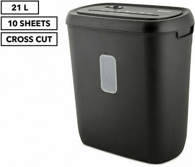 LENOXX Electric Home Office 21L Cross Cut Shredder 10 A4 Paper Sheet/Credit NEW