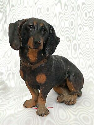 Black Forest Fabulous Antique Wood Carved Dackel or Dachshund