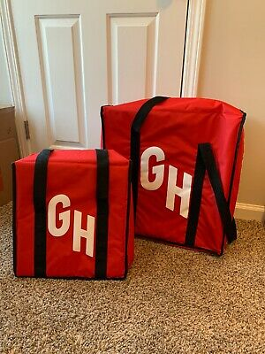 """Officsl Grub Hub Delivery Bags Lot 20""""x 20"""" & 14""""x 14"""" -Excellent"""