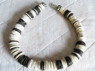 African necklace, contemporary design, antique Ostrich Shell heishi, coconut bds