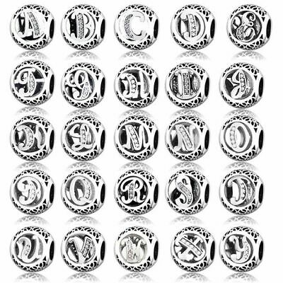 Authentic Pandora Charm - All Letters Sterling Silver Bangle Brace Charms Beads