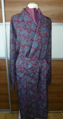 Men's vintage Tootal Regency Dressing Gown XL Maroon with Blue Paisley