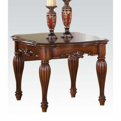Wooden End Table with Carved Details, Cherry Brown Brown